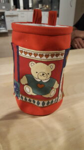 Unik håndlavet kalkpose med bamse